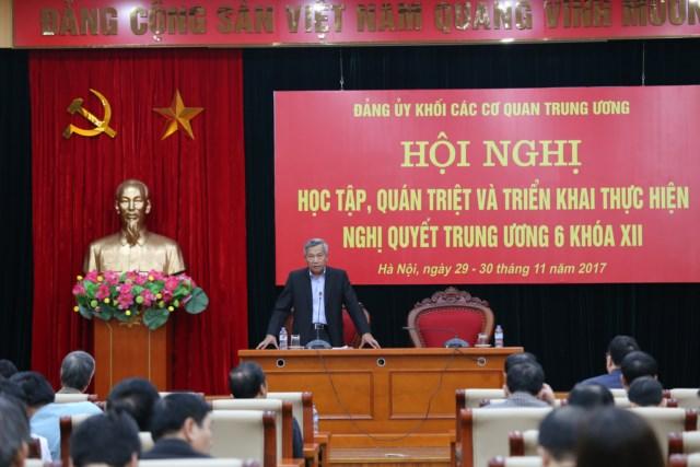 Đảng ủy Khối các cơ quan Trung ương triển khai thực hiện Nghị quyết Trung ương 6 (khóa XII)
